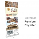 "33.5"" w x 80"" h Retractable Banner & Stand - Double Sided Premium Polyester."